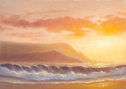 Hanalei Bay Sunset, 5x7 oil on panel
