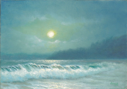 Moonrise at Lumahai, 5x7 oil on panel