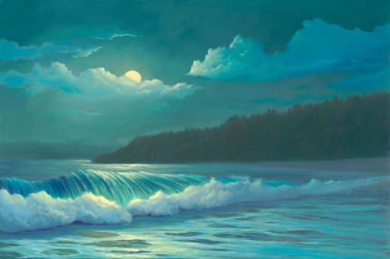Lumahai by Moonlight, 24x36 oil on canvas