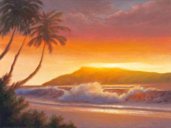 Evening in Ka'anapali 18x24 oil on canvas painting by Steve Kohr Fine Art