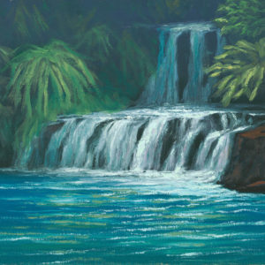 Kahili Falls, 9x12 oil on panel