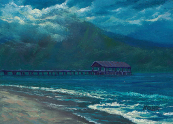 Hanalei Bay at Night, 5x7 oil on panel