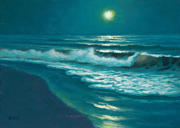 Moonglow, 5x7 oil on panel