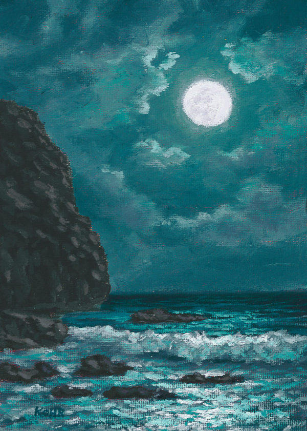 Tropical Nightfall, 5x7 oil on panel