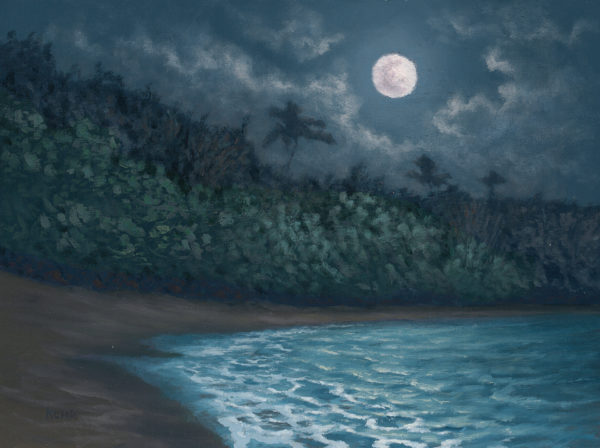 Ke'e Moon, 9x12 oil on panel