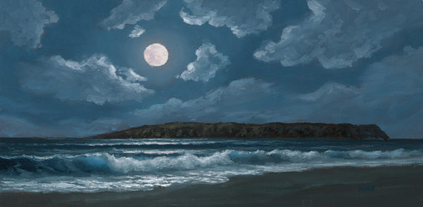Mystical Moonlight, 6x12 oil on canvas